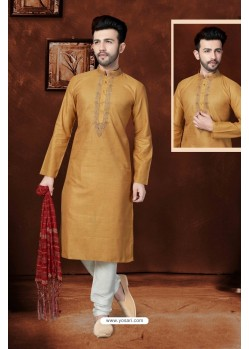 Dashing Rust Cotton Kurta Pajama