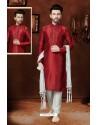 Impressive Maroon Art Dupion Kurta Pajama