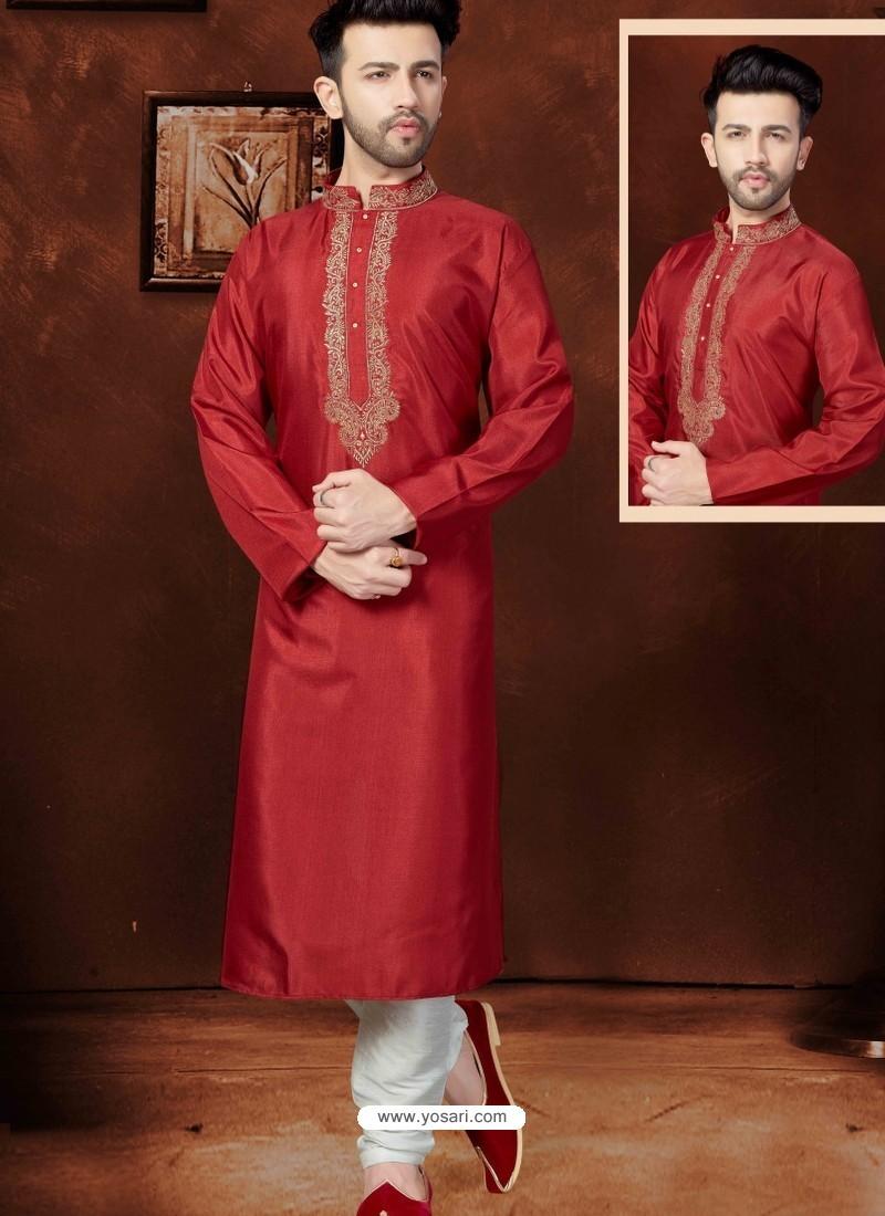 Classic Maroon Raw Silk Kurta Pajama