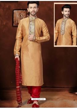 Stylish Orange Banglori Silk Kurta Pajama