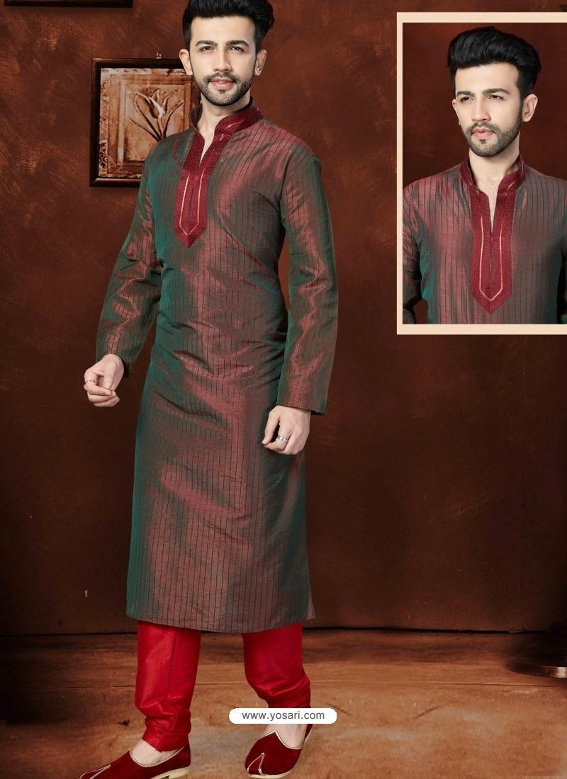 Modish Maroon Art Dupion Kurta Pajama