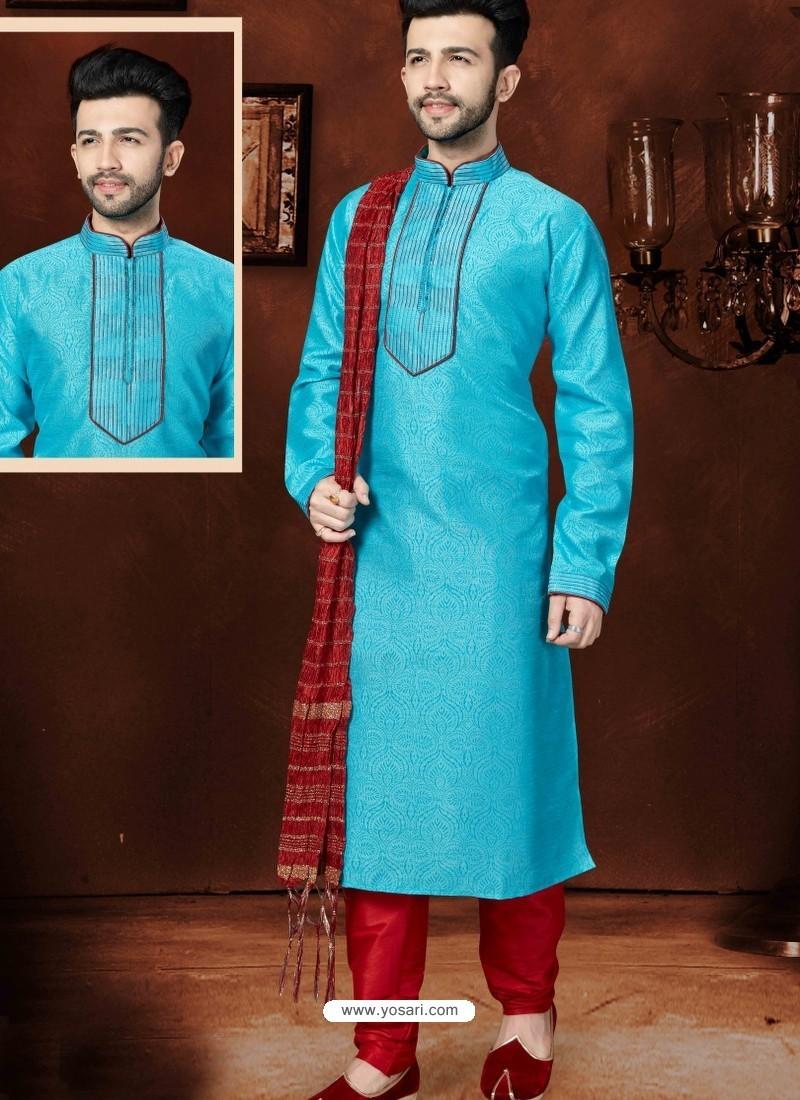 Classy Sky Blue Banglori Silk Kurta Pajama