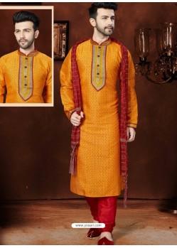Amazing Orange Silk Kurta Pajama