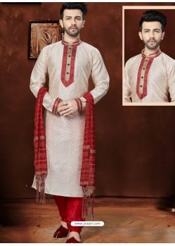 Trendy Off White Silk Kurta Pajama