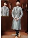 Excellent Grey Art Dupion Kurta Pajama
