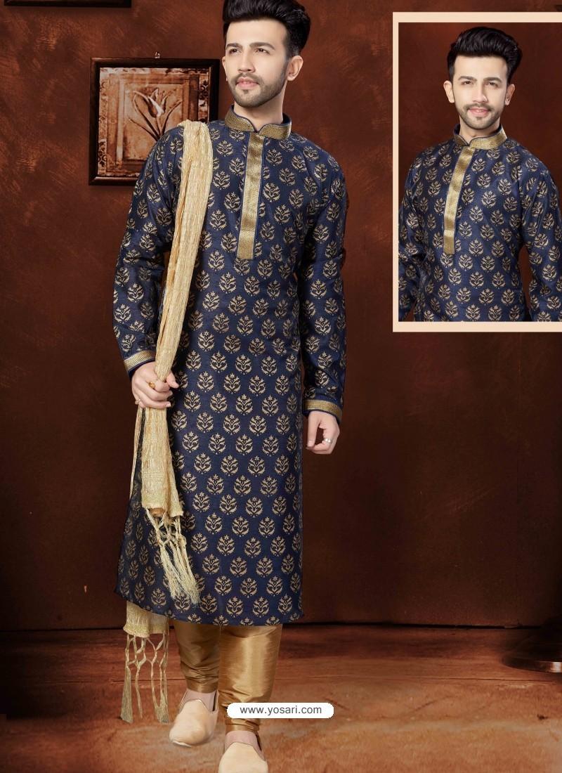 Astonishing Navy Blue Kurta Pajama