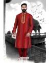 Stylish Red Cotton Silk Kurta Pajama