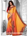 Orange And Peach Shaded Faux Creap Half And Half Saree