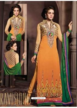 Orange Georgette Salwar Kameez