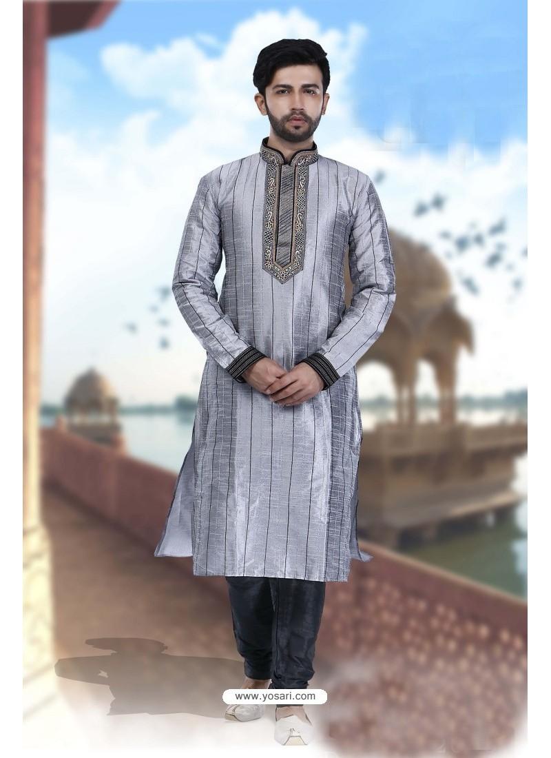 Excellent Grey Art Silk Kurta Pajama