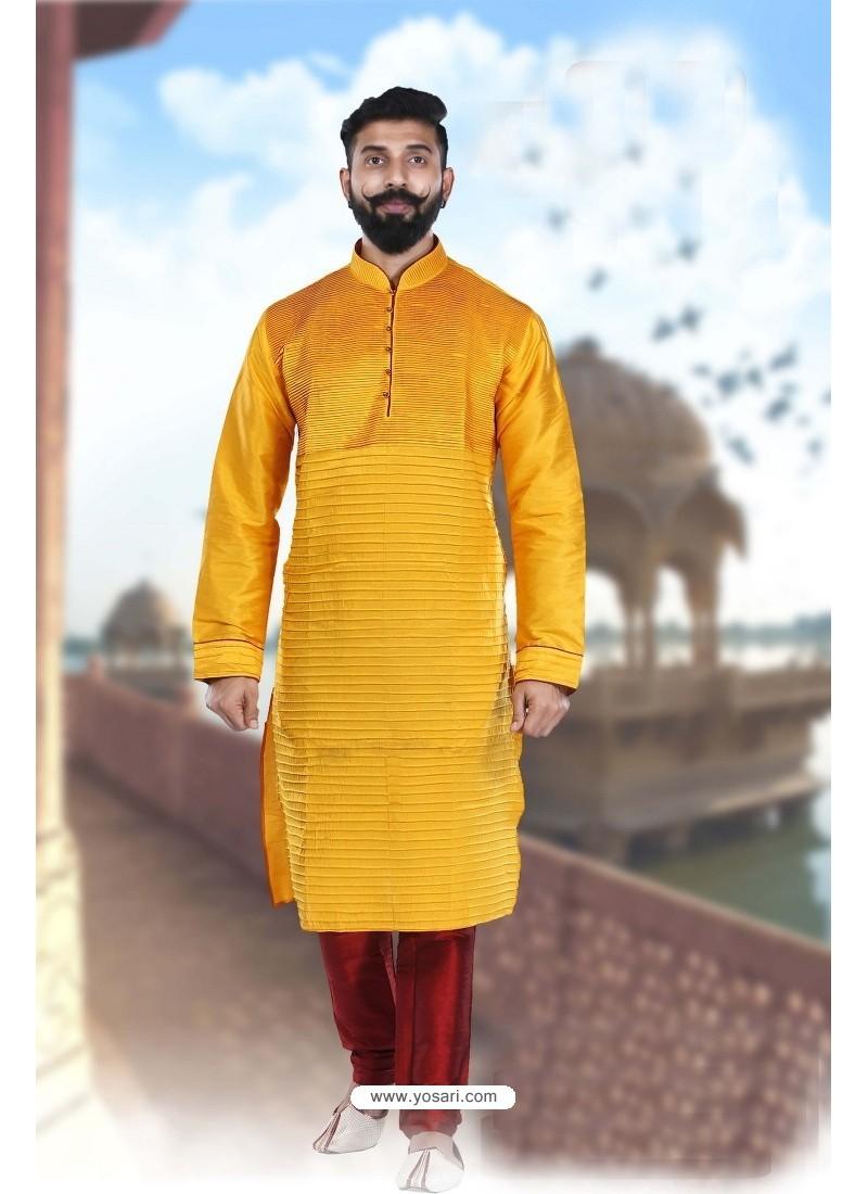Adorable Yellow Art Silk Kurta Pajama