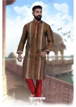 Classy Brown Art Silk Kurta Pajama