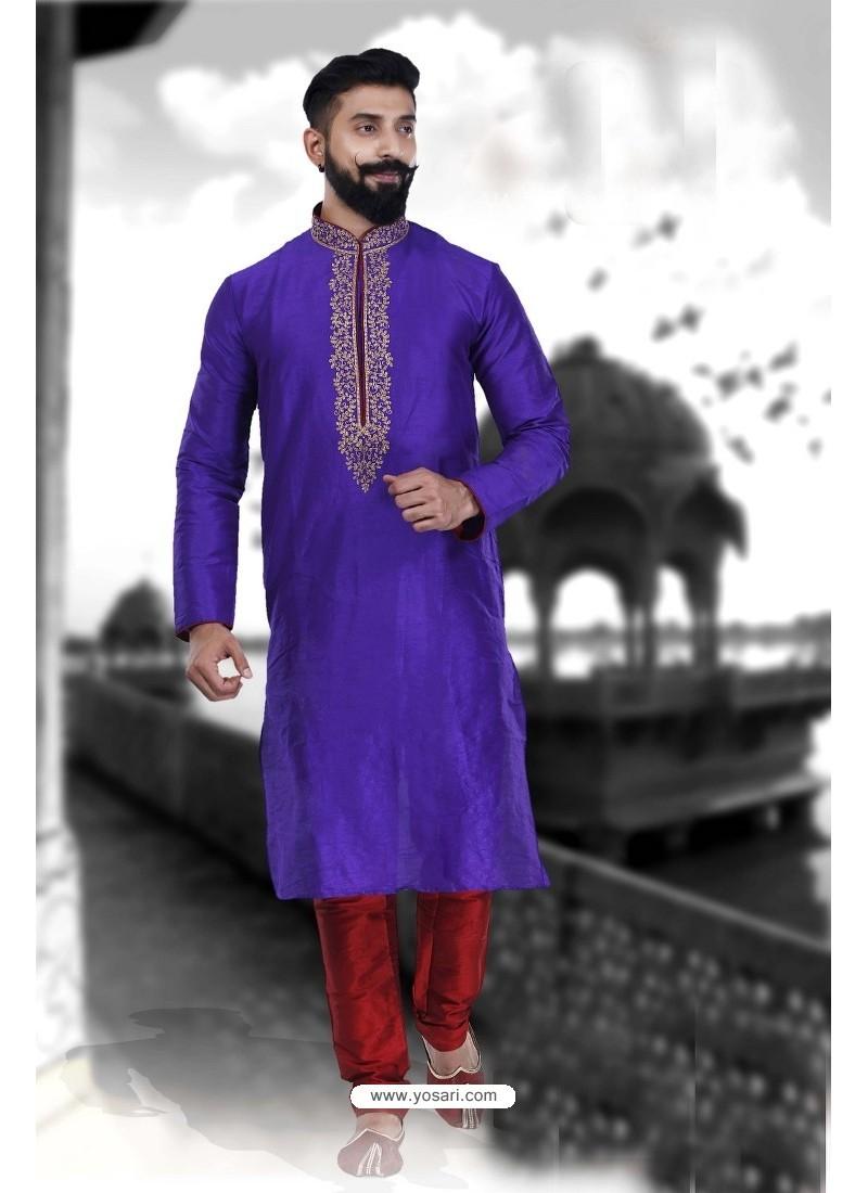 Trendy Blue Art Silk Kurta Pajama
