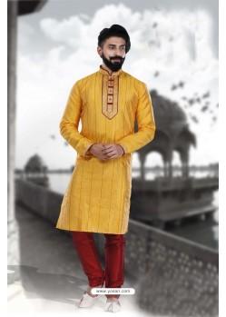 Superb Yellow Art Silk Kurta Pajama