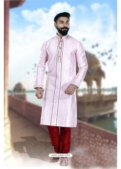 Excellent Mauve Art Silk Kurta Pajama