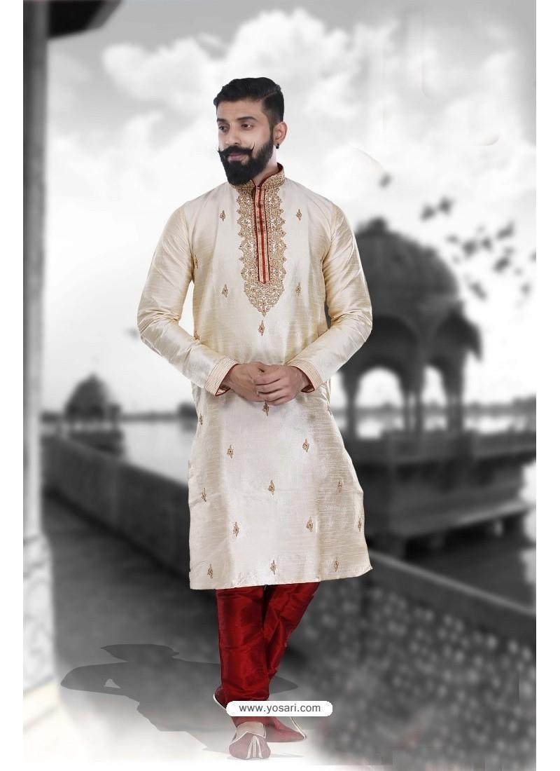 Modish Cream Art Silk Kurta Pajama