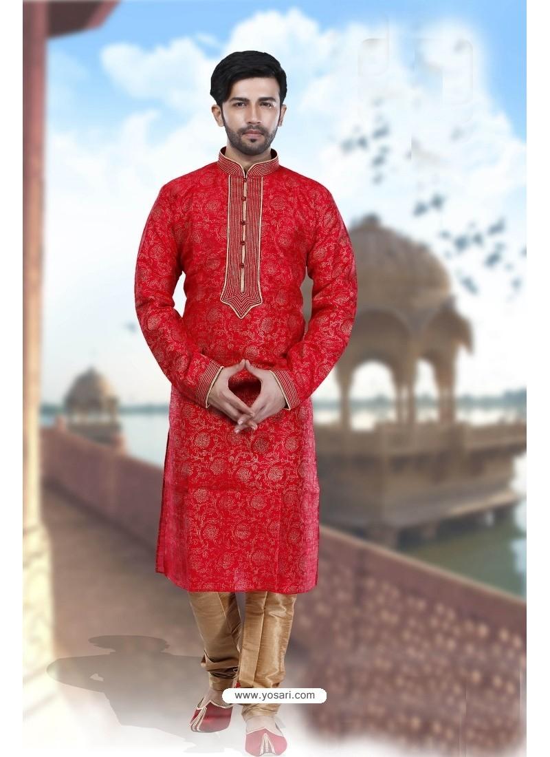 Amazing Red Art Silk Kurta Pajama
