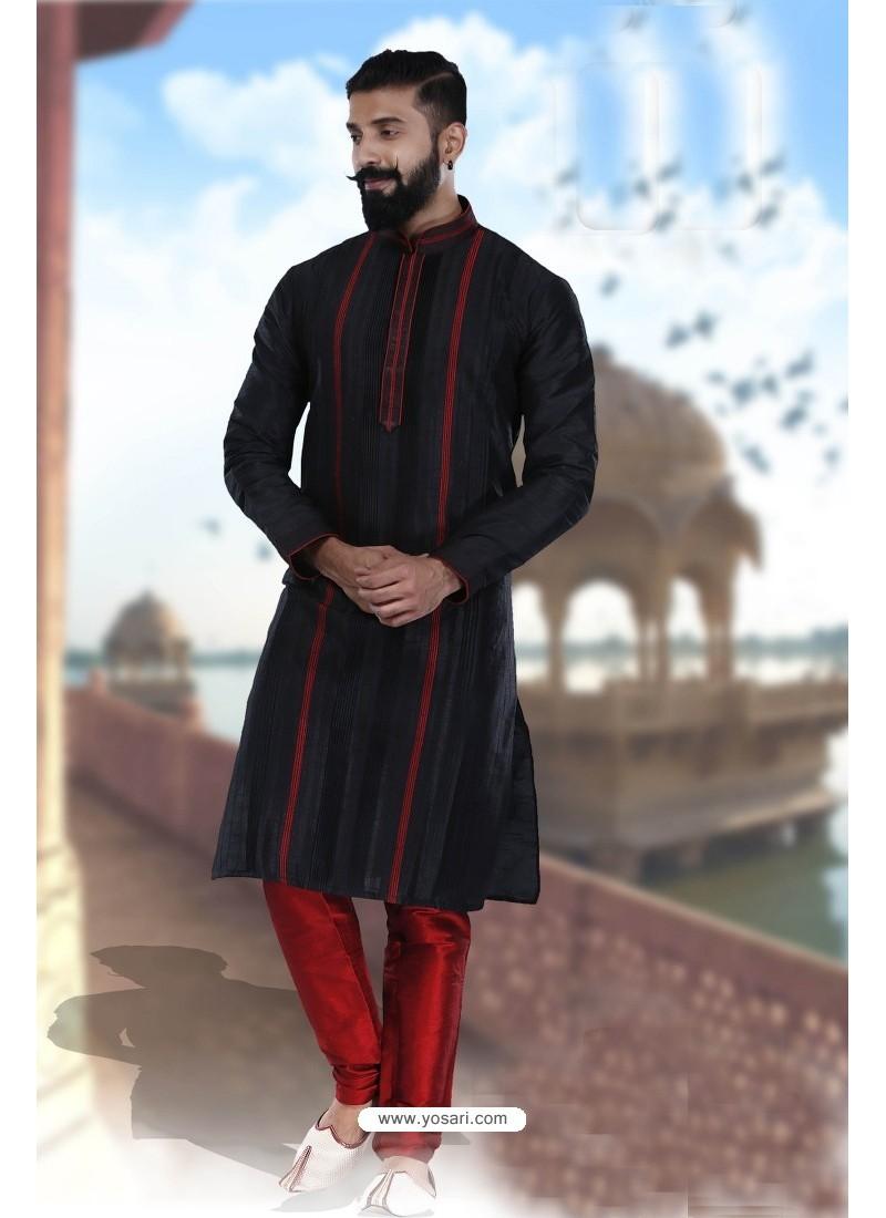 Outstanding Black Art Silk Kurta Pajama