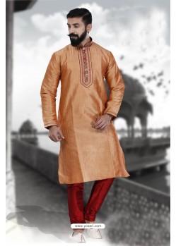 Excellent Orange Art Silk Kurta Pajama