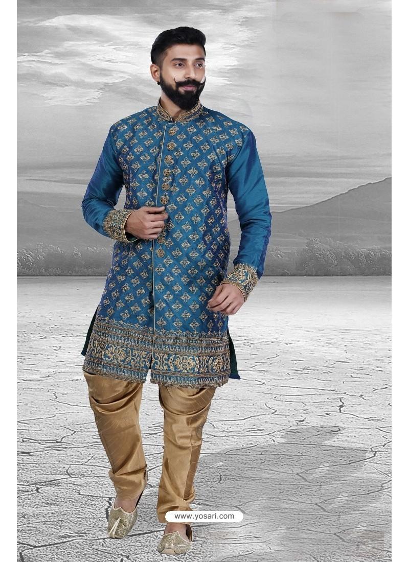 Buy Stylish Tealblue Silk Kurta Pajama | Kurta Pajama