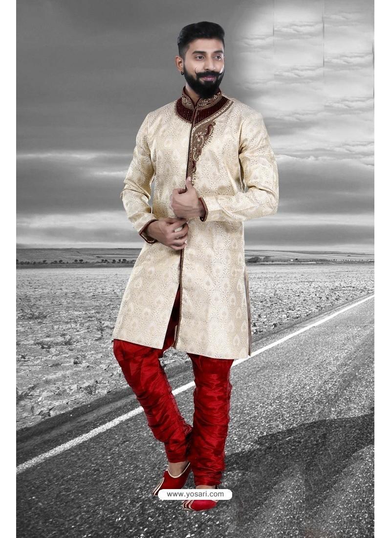 Excellent Cream Art Silk Kurta Pajama