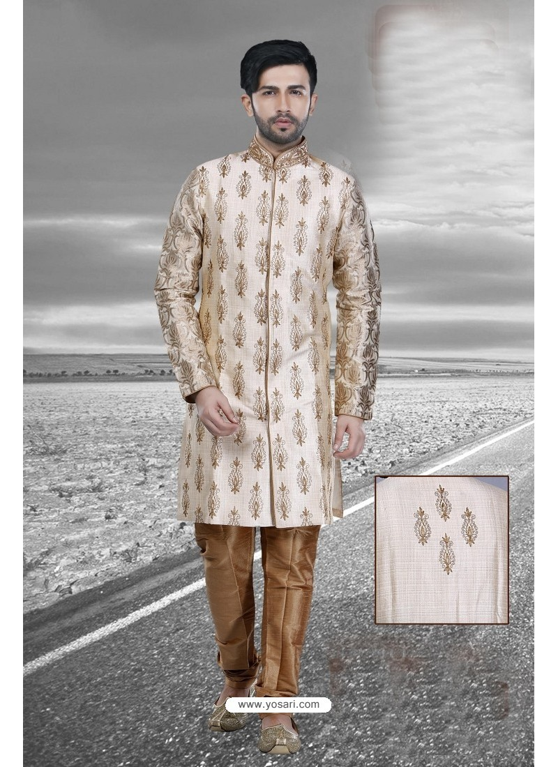 Impressive Cream Art Silk Kurta Pajama