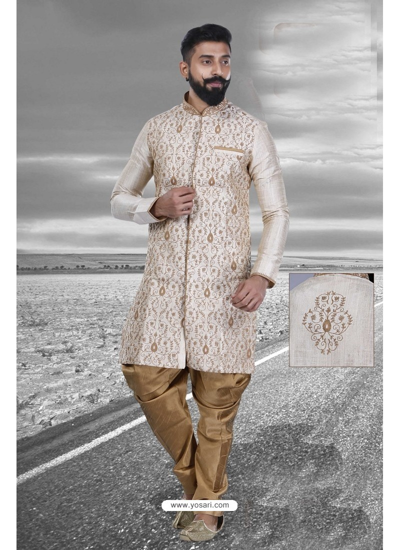 Trendy Cream Art Silk Kurta Pajama