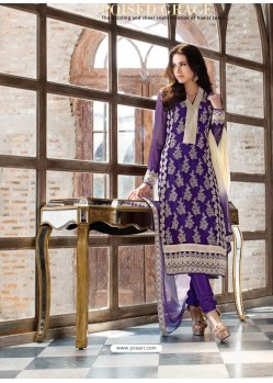 Purple Georgette Churidar Suit