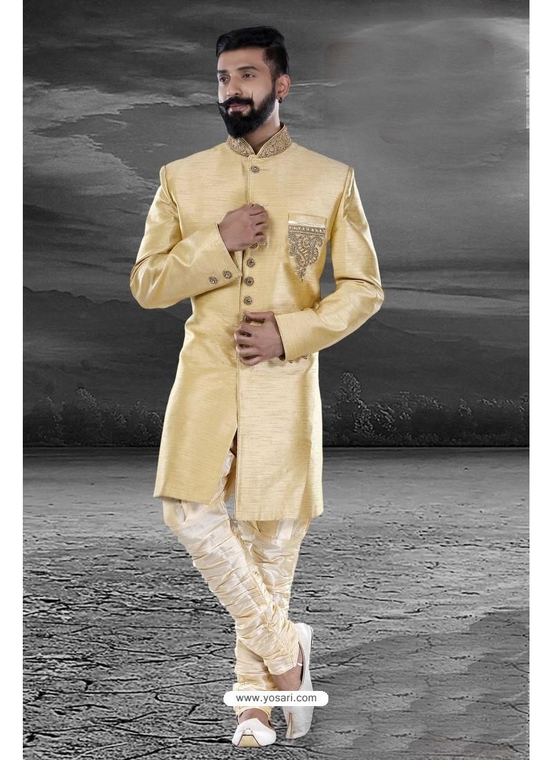 Excellent Golden Art Silk Kurta Pajama