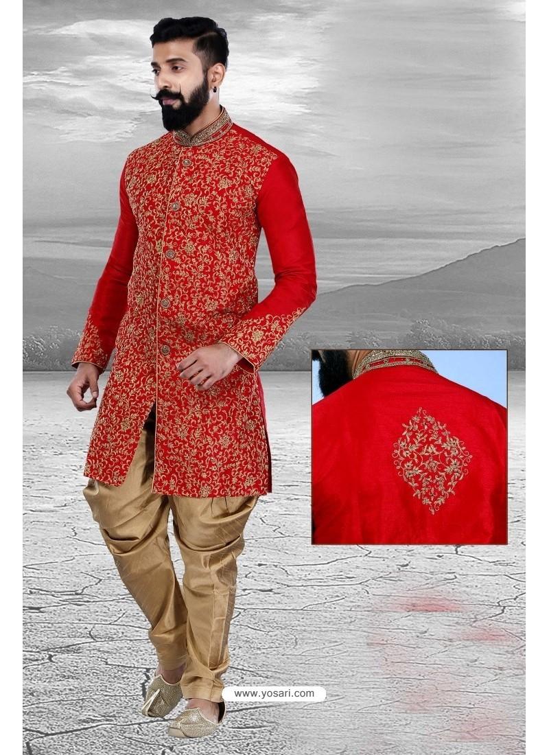 Unique Red Art Silk Embroidered Sherwani
