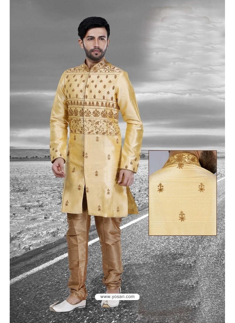 Golden Art Silk Embroidered Sherwani