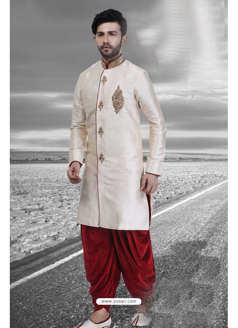Adorable Off White Embroidered Sherwani