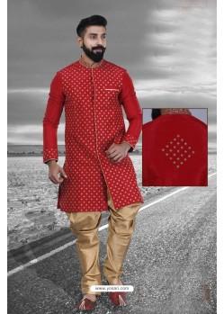 Maroon Art Silk Embroidered Sherwani
