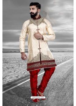 Heavenly Embroidered Cream Art Silk Sherwani