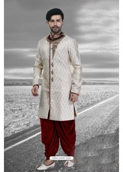 Stylish Off White Designer Sherwani