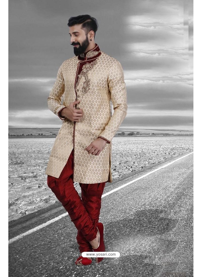 Superb Designer Cream Silk Sherwani
