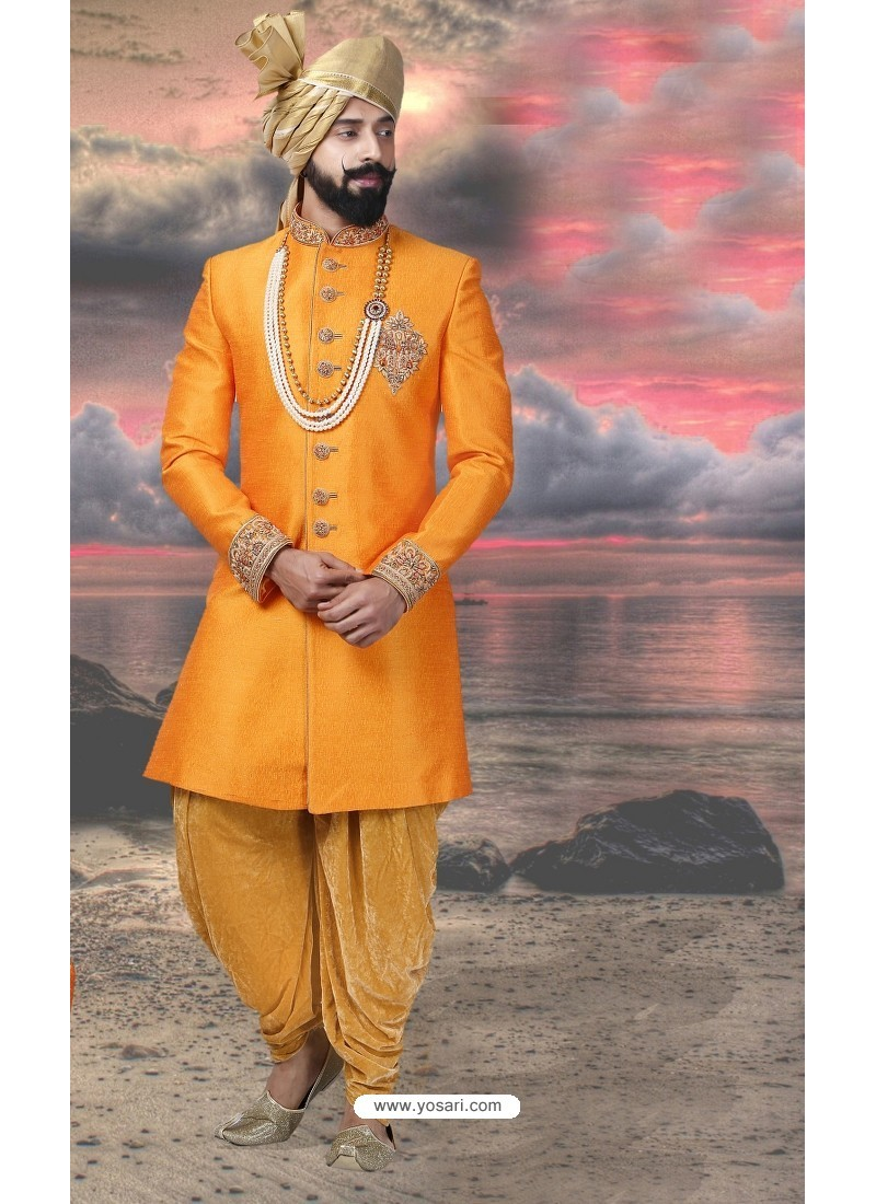 Astonishing Yellow Silk Sherwani