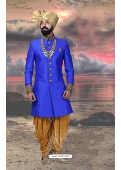 Stylish Blue Silk Designer Sherwani