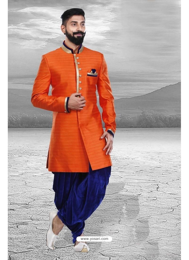 Trendy Orange Embroidered Sherwani