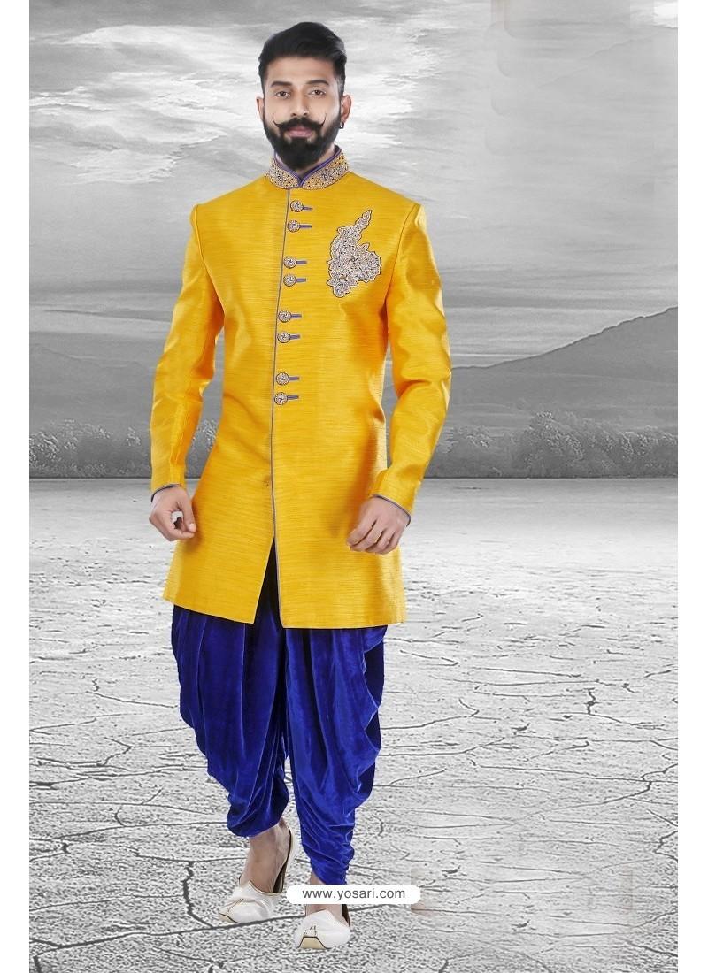 Superb Designer Yellow Silk Sherwani