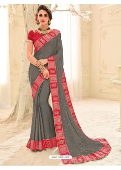 Adorable Grey Silk Embroidered Saree