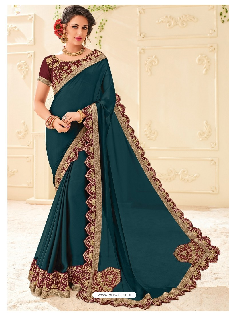 Awesome Tealblue Georgette Saree
