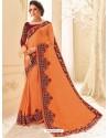 Affectionate Orange Moss Chiffon Embroidered Saree