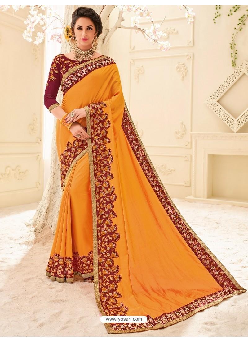 Classic Orange Silk Embroidered Saree