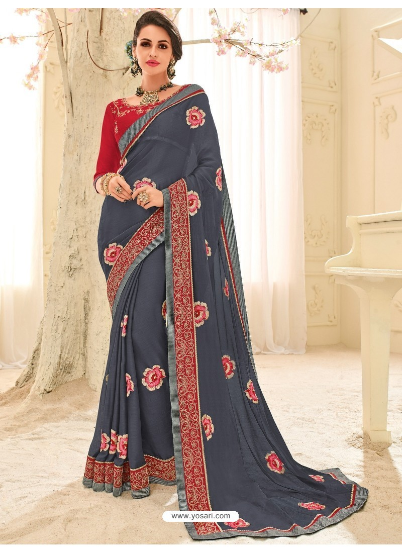 Marvelous Grey Georgette Embroidered Saree