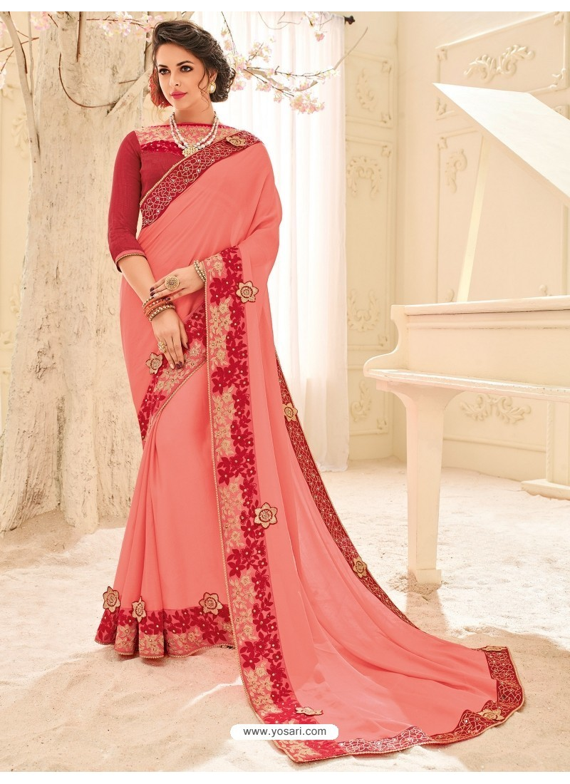 Traditional Peach Embroidered Saree