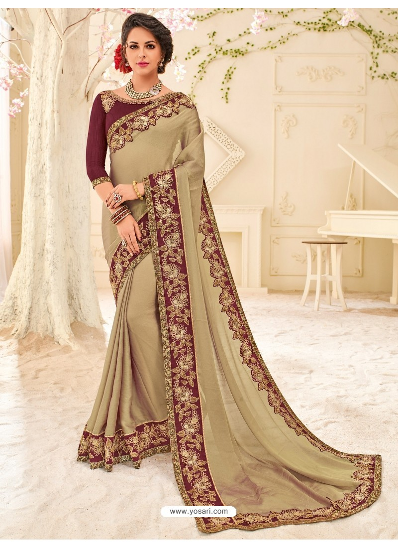 Adorable Taupe Embroidered Saree
