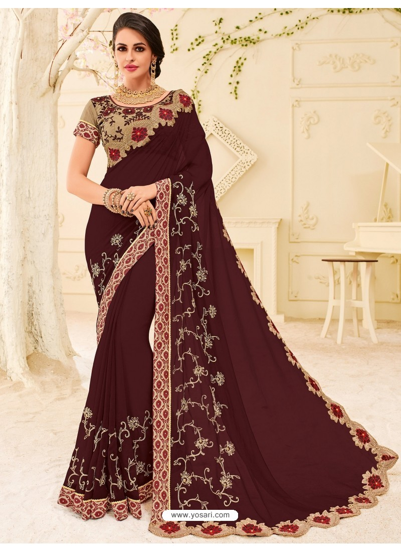 Traditional Maroon Embroidered Saree