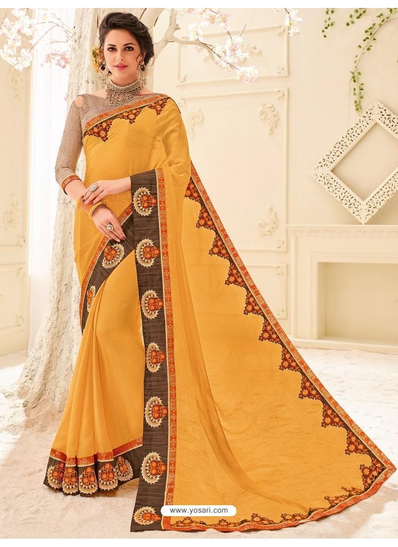 Unique Orange Embroidered Saree
