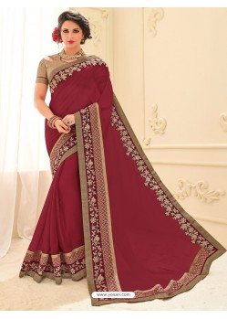 Affectionate Wine Silk Embroidered Saree